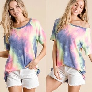 LILY TIE DYE FRENCH TERRY PRINT TOP